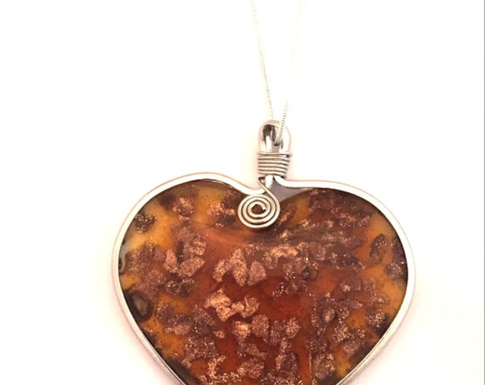 Hand Blown Glass Pendant Necklace- Wire Wrapped Blown Glass Heart Shaped Necklace on a Sterling Silver Chain 18 inch or 28 inch