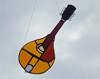 Art Glass Mandolin 1914 Gibson A3 - Stained Glass Mandolin - Glass Mandolin Sun Catcher
