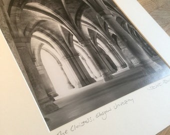 The Cloisters, Glasgow University, signed mounted print-Glasgow University-Black & White-Photograph