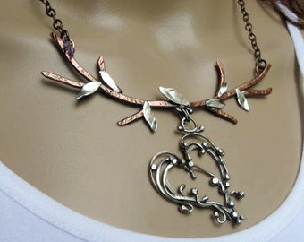 Copper and sterling silver branch and twig heart