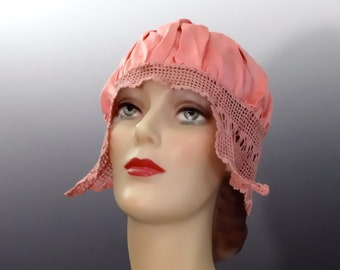 1920's Pink Silk Sleep Hat Flapper Boudoir Cap with Crochet Trim - Vintage Women's Lingerie