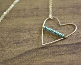 hand hammered delicate necklace heart pendant necklace turquoise necklace heart necklace long necklace long pendant unique gift for her