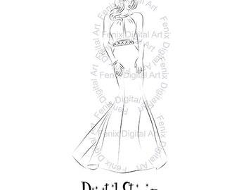 Digital Stamp,Clipart,Line art,Fashion girl,Princess,Bride,Girl graphics,Digi stamp,digistamp,fashion Illustration INSTANT DOWNLOAD