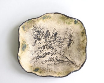 Wildflower Imprint Ceramic Trinket Tray Organic Small Clay Art Dish Rustic Pottery Home Accent Earthy Goldenrod Pottery Decorative Plate