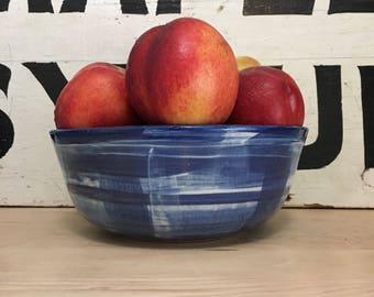Blue and White Plaid Ceramic Serving Bowl | Indigo | Handmade Pottery