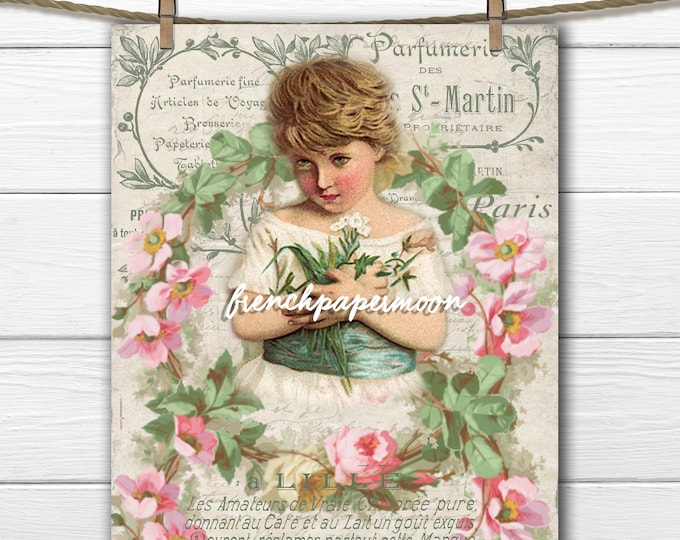 Victorian Digital Angel, Cherub, French Graphics, Vintage Rose Wreaths, Large Image Transfer Graphic