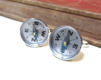 Working Antiqued Silver Compas Cufflinks - Silver Ox Cuff Links - Travel World Globe True North