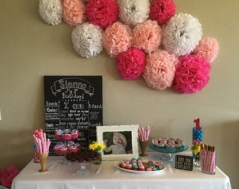 15 Tissue Paper Pom Pom Wall Flowers...choose your colors...nursery wall decor