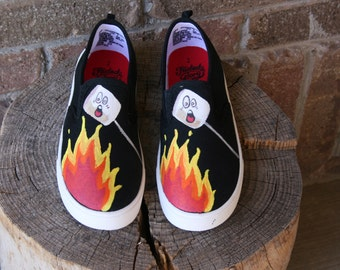HAPPY CAMPER SHOES Hand Painted shoes, Marshmallow shoes, Smores shoes, Baby/Toddler, Child/Youth, and Womens Sizes