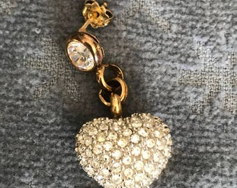 Valentine Heart By Ultima Edizione Stamped 925 Solo Earring Bedazzled Heart Earring Upcycle to Necklace or Choker
