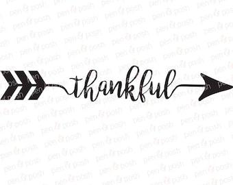 Thankful Arrow SVG - Thankful SVG - Thankful Arrow Clipart - Thankful Arrow Silhouette - Thankful Arrow Cricut Cut File