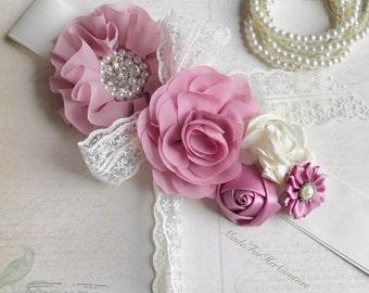 Rosy bridal sash, rosy pink wedding belt, dusty pink flower belt, dusty pink flower sash, rosy pink maternity sash rosy pink  maternity belt
