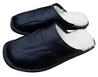 Men's Sheepskin Wool Black Leather Slippers Shoes Size 7 8 9 10 11 12 13 Luxury