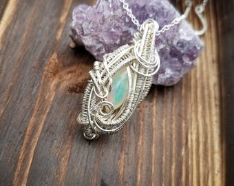Sterling and Argentium Silver Wire-Wrapped Pendant
