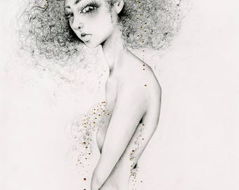 "Drawing of a Girl ""Queen"" Women in Art Fine Art Giclee Print of my Original Pencil Drawing / Painting Gold Home Decor Women Wall Art for Her"