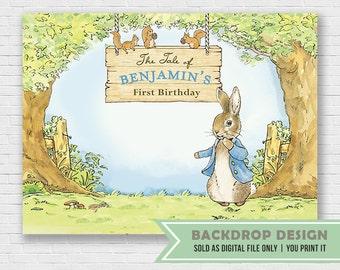 Peter Rabbit Backdrop // DIGITAL FILE Onl // Birthday Baby Shower Backdrop Banner