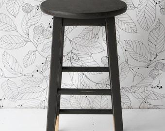 Shabby Chic Kitchen Bar Stool Hand Painted Annie Sloan Graphite Grey 60cm 2