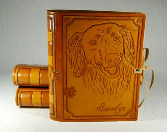 Custom Dog Leather Journal Pet Journal Personalized Journal Notebook Diary Travel Book Leather Book A5 journal Gift TiVergy Journal