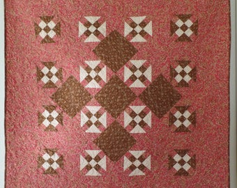 Pink Quilt, Brown Quilt, Traditional Quilt, Lap Quilt, Mother's Day Gift, Throw Quilt, Churn Dash Quilt, Patchwork Quilt