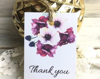 12 HANDMADE PAPER TAGS - Bouquet hang tags - Thank you tags - Elegant tags, Wedding tags, Thank you tags, wedding supplies