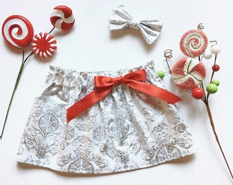 Silver and White Girl's Christmas Skirt, Christmas skirt, toddler skirt, red silver gold skirt baby girl skirt