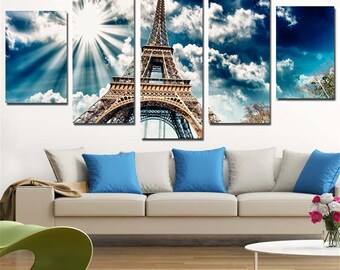 Eiffel Tower Wall Art, Eiffel Tower Canvas Art, Eiffel Tower 5 Piece Canvas Print, Eiffel Tower Wall Decor, Framed
