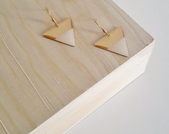 Triangular, Japanese, beige paper, resin earrings, women