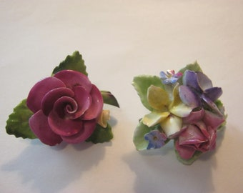 Vintage flower brooches, 2 china brooches made in England, one is Cara China from Staffordshire