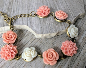 Antique Pink and Ivory Flower Bracelet for Flower Girl - Everyday Bracelet  - dahlia jewelry - Resin - Everyday - Junior Bridesmaid Bracelet
