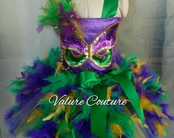 Mardi Gras Feather Mask Beads Carnival Inspired Tutu Dress Costume Infant Toddler Girls Baby Newborn Halloween Birthday Outfit Purple Green