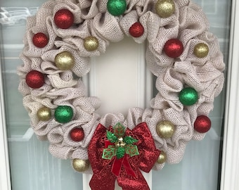 Christmas Wreath, White Christmas, Winter Wreath, Holiday Wreath, Jingle Bells, Burlap Wreath, Ornaments, Front Door Wreath, Festive Wreath