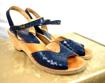 Vintage Thom McAn Suede Blue Leather Wedge Sandals
