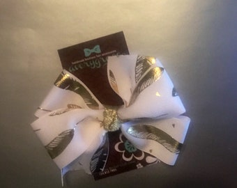White and Gold feather  4 inch  bow on lined alligator clip