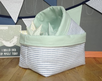 Set of two fabric storage baskets / storage pouch / decor baby room / sailor