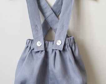 Bloomer with gray linen straps for baby and boy