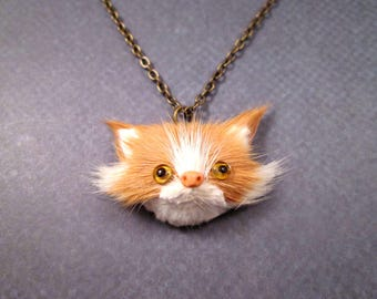 FOX Kit Necklace, Real Rabbit Fur and Brass Pendant Necklace, FREE Shipping U.S.