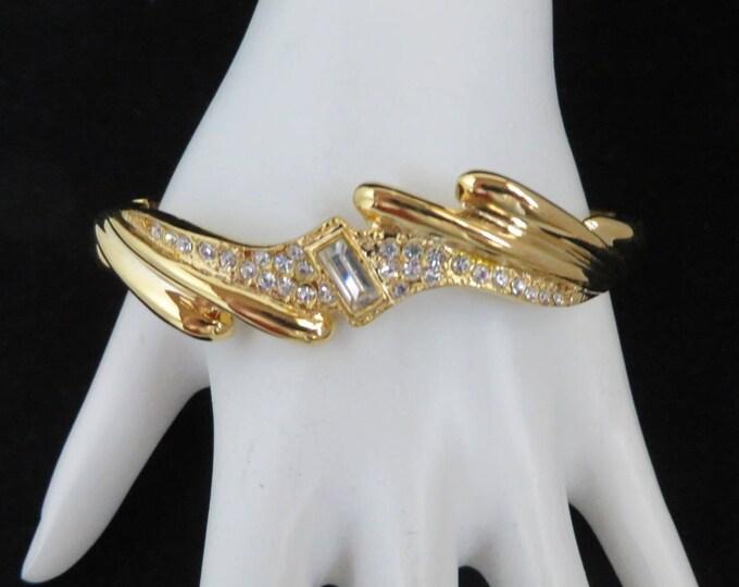 Vintage Bangle, Hinged Bracelet, Gold Tone Rhinestone Bangle, Bridal Jewelry, Perfect Gift Idea