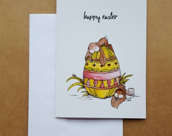 Happy Easter Card/Easter Card/Watercolor/Blank Easter Card/Bunny Card/Easter Bunny Card/Easter Egg Card/Spring Art/Peter Cottontail