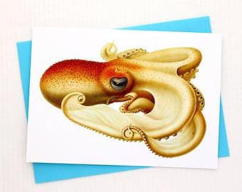 Orange Octopus 5x7 Card / Beach Wall Decor - Frameable Greeting Card Makes a Lovely Gift