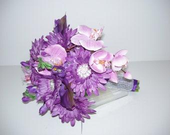 Silk BROOCH Bouquet, ON SALE,  Purple Orchid Bouquet, Purple Gerbera,Calla  Broach Wedding Bouquet , Ready to ship