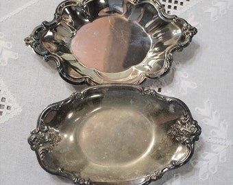 Vintage Silver Plate Shallow Bowl Set of 2 International Silver Co. Tarnished Ornate Candy Trinket Dish PanchosPorch