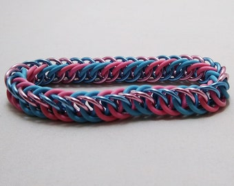 Handmade Chainmail Stretch Bracelet 16g Half Persian Cotton Candy Rubber & Anodized Aluminum Maille Jewelry