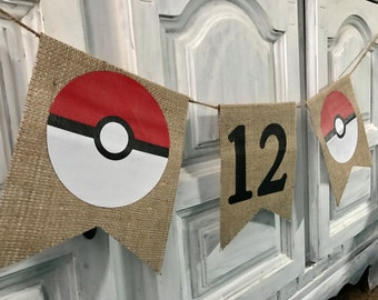 Birthday inspired pokemon banner, pokeball, pokemon, birthday, age, personalized