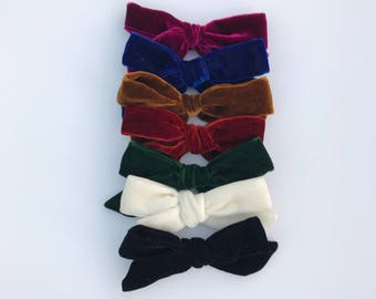 Velvet bows, oversized bows, hand tied bows, hair bows, girl bows, school girl bows