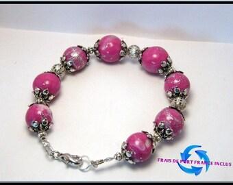 Mokune fimo pink pearl bracelet, silver leaf inlay
