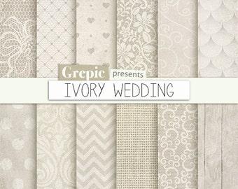 "Wedding digital paper: ""IVORY WEDDING"" romantic ivory wedding bridal patterns for wedding invites, save the date cards, scrapbooking"