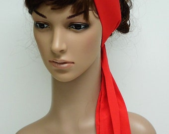 Red headband, self tie hair scarf, long red head scarf, hair tie, elegant hairscarf, hair bandanna, hair wrap, head wrap, 144 x 6.5 cm