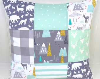 Woodland Pillow Cover, Cushion Cover, Nursery Decor, Decorative Pillows, Woodland, Deer, 18 x 18, Mint, Gray, Grey, Buffalo Plaid, Mountains