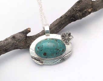 Campitos Turquoise Necklace Sterling Silver Pendant Nature Jewelry Gemstone Pendant Gemstone Necklace Turquoise Pendant Nature Mothers Day