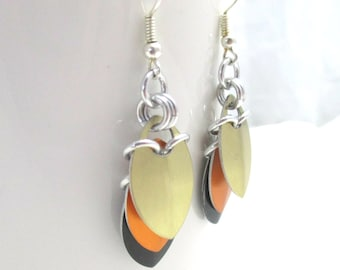 Layered Scale Chainmaille Earrings - Black, Orange, Gold